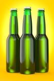 Green Beer bottle brown no label. 3d render Royalty Free Stock Photo