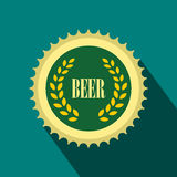 Green beer bottle cap icon, flat style Stock Photo