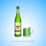 Green beer bottle for Happy St. Patricks Day celebration. Stock Image