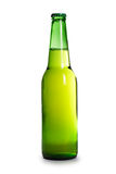 Green beer bottle isolated over white Stock Photos