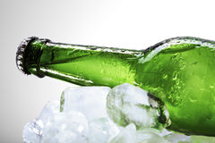 Green beer bottle lying on ice Royalty Free Stock Photos