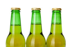 Green beer bottle necks Stock Photos