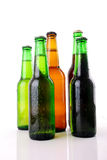 Green beer bottle with water drops Royalty Free Stock Photos