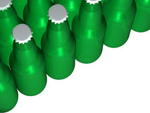 Green beer bottles. A picture of a bunch of isolated green beer bottles Royalty Free Stock Images