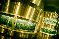 Green beer bottles being filled at brewery Stock Image