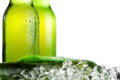 Green beer bottles with ice Royalty Free Stock Photo