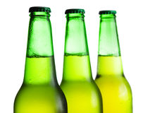 Green beer bottles isolated Stock Images
