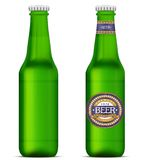 Green beer bottles with label template Stock Image