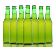 Green Beer Bottles Over White Royalty Free Stock Photography