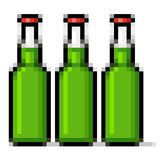 Green beer bottles pixel art. Isolated pixel bottles of beer Royalty Free Stock Images