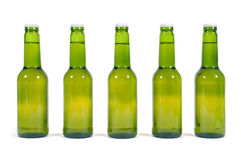Green beer bottles in a row isolated on white background Royalty Free Stock Images