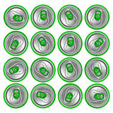 Green beer cans on a white background Royalty Free Stock Photography