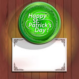 Green beer and card St Patrick's Day Stock Photos
