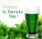 Green beer with clover Stock Photos