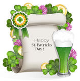 Green beer with clover and gold coins Royalty Free Stock Image