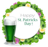 Green beer with coins and clover Royalty Free Stock Photo