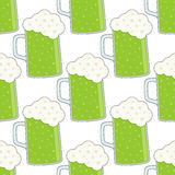 Green Beer Mug Glass Seamless Pattern Stock Photography
