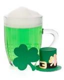 Green beer, shamrock and Leprechaun hat Royalty Free Stock Photography
