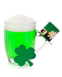 Green beer, shamrock and Leprechaun hat Stock Image
