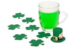 Green beer, shamrock and Leprechaun hat Royalty Free Stock Photo