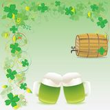 Green beer and wooden keg Royalty Free Stock Photography