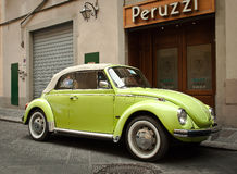 Green beetle Volkswagen car cabriolet Stock Photos
