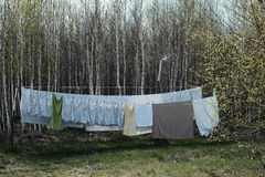 Green Beige and Blue Tank Top Gray Textile Hanging Near Green Trees during Daytime Royalty Free Stock Photos