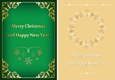 Green and beige greeting cards for christmas - vector postcards royalty free illustration