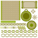 Green and beige tags and trims collection Stock Photography