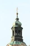 Green belfry of church in Prague Royalty Free Stock Photo