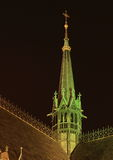 Green belfry of church in Prague stock photography