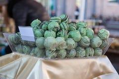Green Belgian Pralines Mint Taste, Sweet Chocolate Truffles.  Royalty Free Stock Image