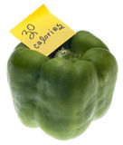 Green Bell Pepper with 30 Calories Stock Image