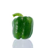 Green bell pepper with clipping path. A green bell pepper on white royalty free stock photo
