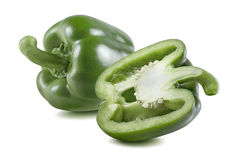 Green bell pepper half horizontal 3 isolated on white. Background as package design element Royalty Free Stock Photo