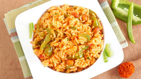 Green Bell Pepper Rice. Pilaf in a bowl Royalty Free Stock Image