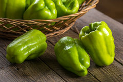 Green bell pepper. On wooden background Royalty Free Stock Images