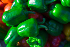 Green bell peppers, natural background Royalty Free Stock Photos
