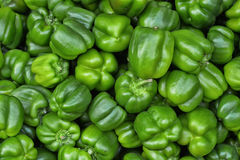 Green bell peppers. A pile of green bell peppers, close up stock image