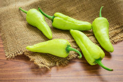 Green bell peppers on sack Royalty Free Stock Image