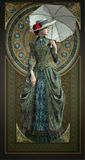 Green Belle Epoque Gown, 3d CG Royalty Free Stock Photo