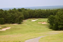 The Green Below. View of the green below on a 380 yard par 4 Royalty Free Stock Photos