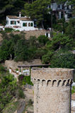 Green belt in a fortress, Tossa de Mar, Spain Royalty Free Stock Image