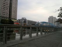 Green belt trail of Tainan Canal stock images