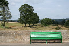 Green bench. In Corbridge, Northumberland, England Royalty Free Stock Photos