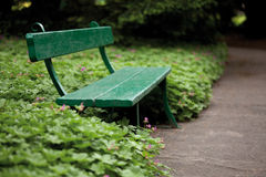 Green bench in garden Royalty Free Stock Photo