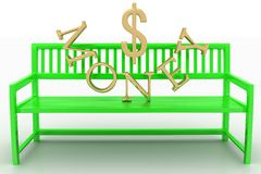 Green Bench With Golden Money Text Royalty Free Stock Photography