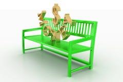 Green Bench With Golden Money Text Stock Photos