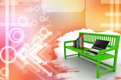 Green bench with Graph And Laptop Illustration Stock Photo