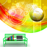 Green bench with Graph And Laptop Illustration Stock Photography